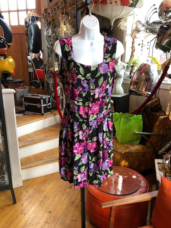 Retro Rayon Floral Culotte Dress, Women's Size 13-