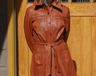 Caramel Leather Trench