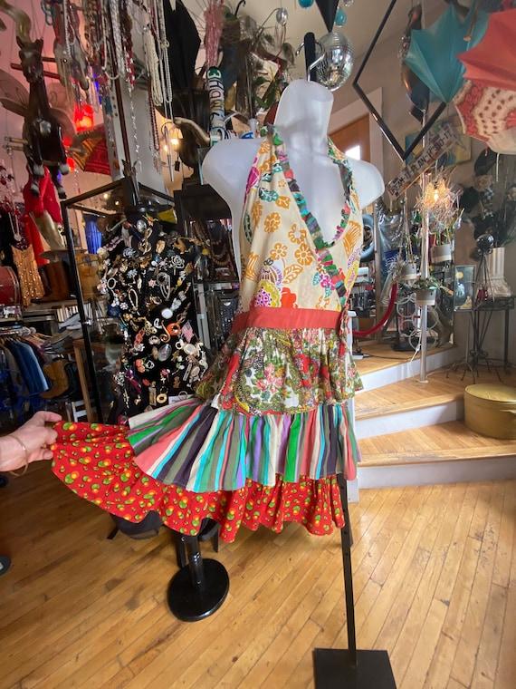 70's Vintage Handmade Floral Cotton Apron Dress
