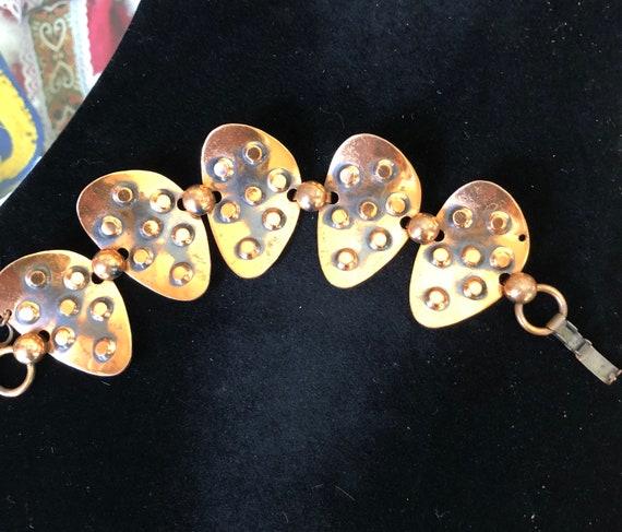 Vintage Mid Century Modern Copper Hinged Link Bra… - image 2