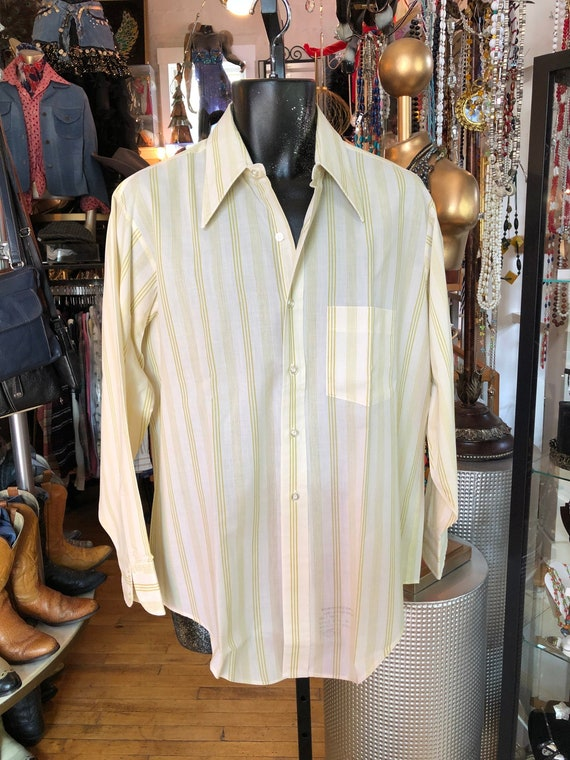 Vintage NOS Arrow Oxford Shirt, Ivory and Green St