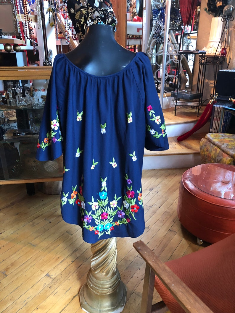 Vintage Women\u2019s Navy Blue Cotton Blouse with colorful embroidered flowers