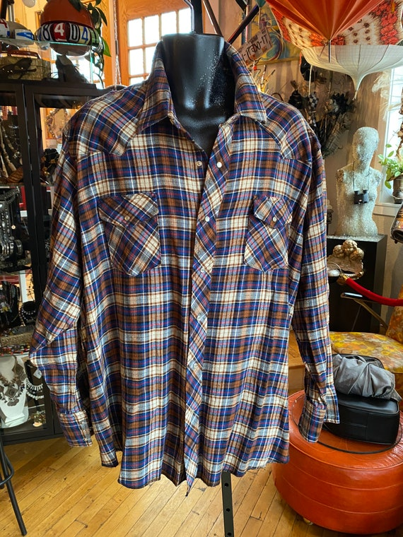 Vintage 90s Wrangler Two Toned Plaid Western Cowboy Shirt