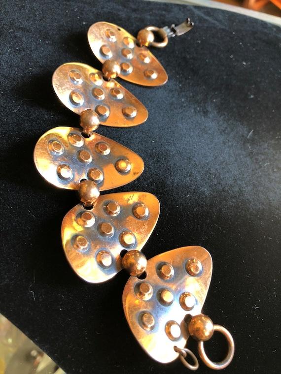 Vintage Mid Century Modern Copper Hinged Link Bra… - image 3
