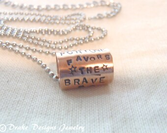 fortune favors the brave necklace motivational jewelry