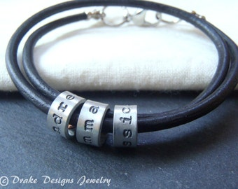 leather mother's day custom name bracelet personalized mom gift