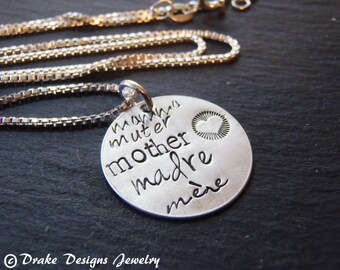 Sterling Silver new mom necklace hand stamped new mother jewelry different languages new mom gift