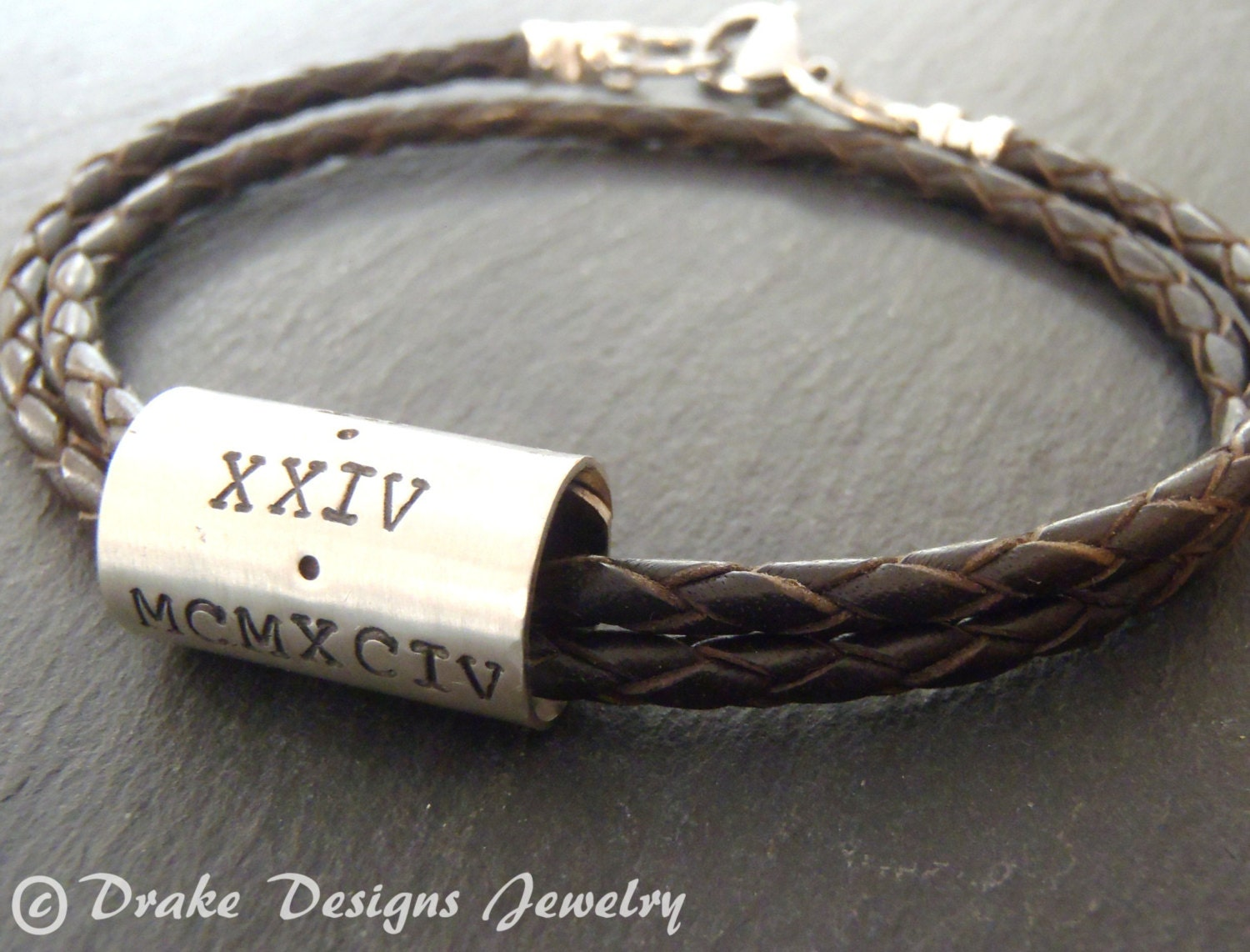 Braided Personalized Mens Leather Bracelet Fathers Day