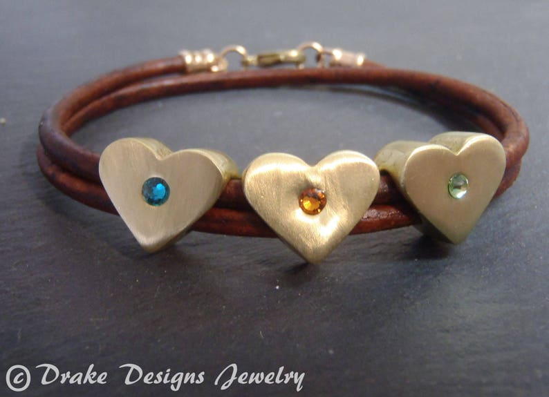 a635083b3b9b8 Custom heart valentines day gift for her personalized mothers day  birthstone bracelet for mom