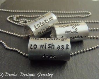 Hand stamped inspiration necklace gift for her inspirational quote personalized message or custom name