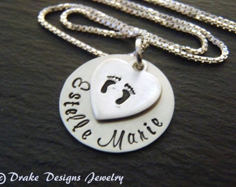 sterling silver new mother gift baby footprint necklace personalized new mom gift baby name