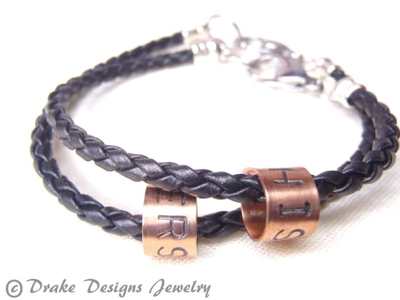 Braided Leather His And Hers Bracelet Matching Couple Jewelry Etsy
