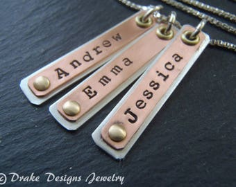 Sterling Silver and copper custom name personalized bar necklace mixed metal bar necklace. mothers day Gift for mom