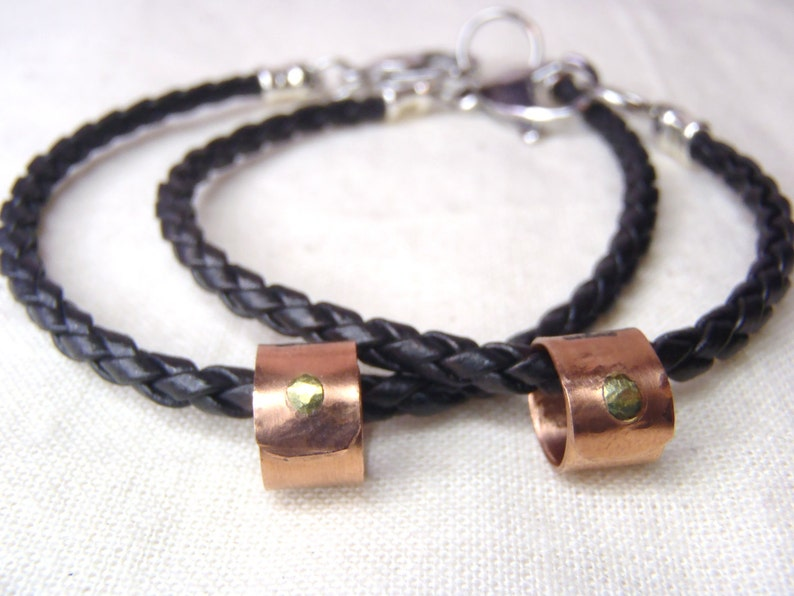 Braided leather His and hers bracelet Matching Couple jewelry personalized with unique message Girlfriend boyfriend gift
