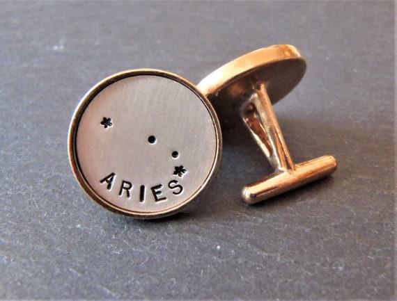 sterling silver and golden bronze zodiac constellation cufflinks