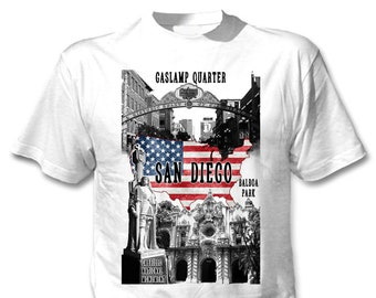 San Diego California - Man new cotton white t-shirt