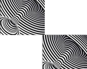 Geometric 3d Effect Tiles Kaleidoscope Design set of two 6 x 6 inches decorative ceramic tiles