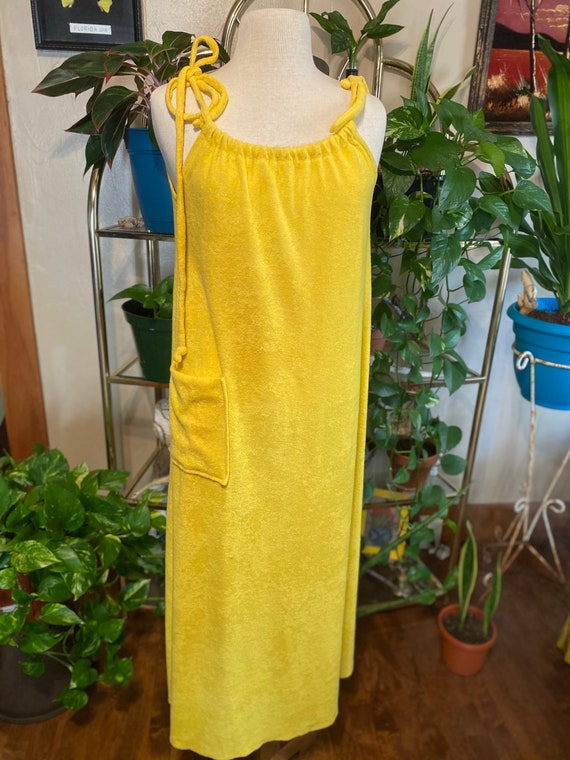 70s Yellow Terry Cloth Maxi Dress