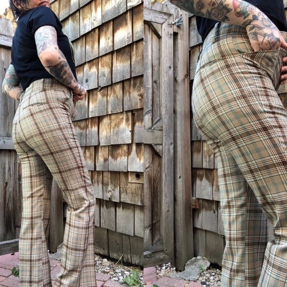 70s Plaid Pants // Plaid Pants // Size 27""