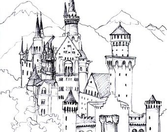 Castle Coloring Page - You download and print and color!