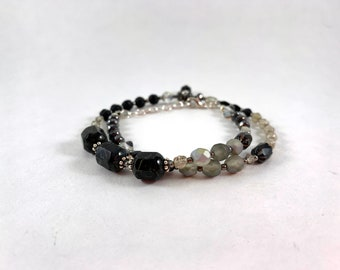Double wrap black bracelet fits wrist 6 inches up to 7 inches