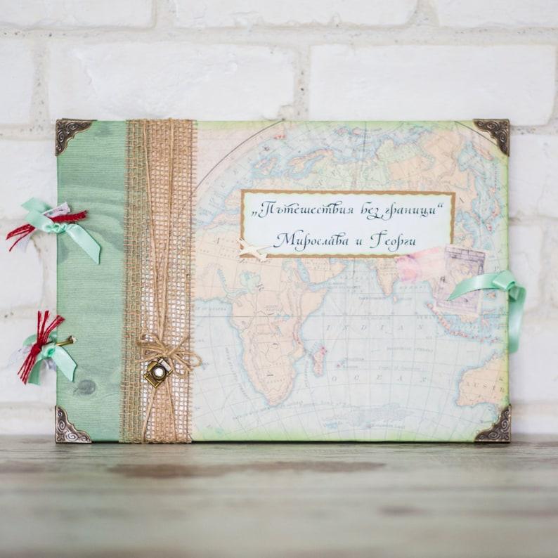 Travel ScrapbookWorld Map Photo AlbumAdventure Memory BookWedding Gift