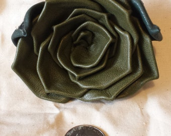 Olive Green Lambskin Leather Rose Pin