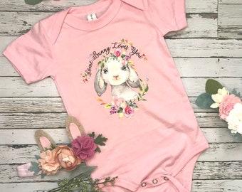 Baby one piece, baby bunny bodysuit, Easter tee shirt, bunny tee shirt, some bunny is one tee