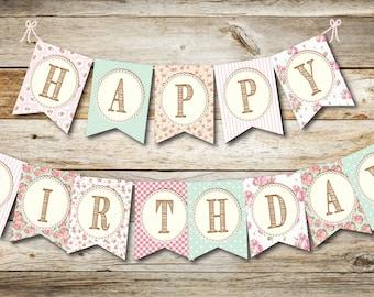 Birthday Banner Girls, Happy Birthday Banner- Digital printable download- Shabby Chic Birthday Banner- Pink & Mint