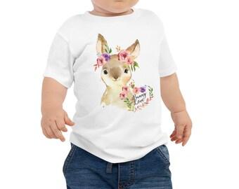 Easter basket gifts, Bunny shirt kids, baby tee shirt, Baby Jersey Short Sleeve Tee, bunny tee, baby bunny tee, Easter tee kids,floral bunny