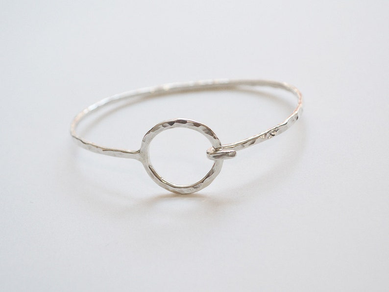 Hammered Circle Cuff / Hammered Sterling Silver and Gold / Sterling Silver