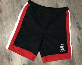cf744dada0 Vintage Ralph Lauren Polo Sport Swim Trunks Mens Large Spell Out Shorts