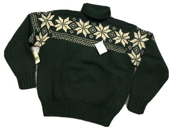 NWT Vintage Polo Fair Isle Snowflake Hand Knit Swe
