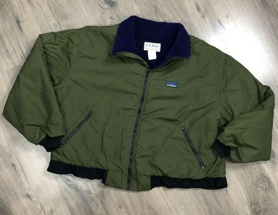 Vintage Ll Bean Warm Up Jacket Men Large Fleece Lined Olive Green Made In Usa