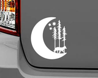 Wolf moon sticker, decal, your choice of color