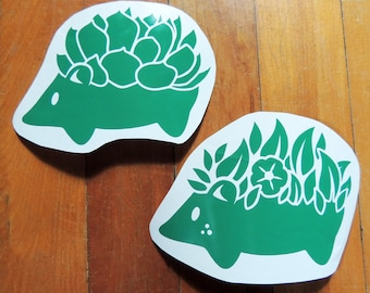 Cute succulent or flower hedgehog sticker, decal, your choice of color