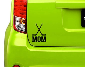 Hockey mom or hockey dad sticker, decal, your choice of color