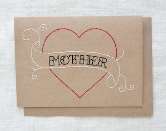 Mother Tattoo Card - Hand Embroidered