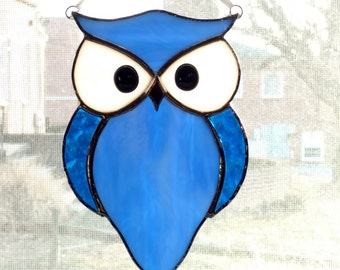 Owl Stained Glass Suncatcher - Blue Glass Owl - Bird Ornament - Window Decor - Nature Decor - Housewarming Gift - Birthday Gift - Horned Owl