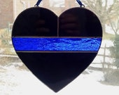 Thin Blue Line Stained Glass Heart, Police Symbol, Police Officer Gift, Law Enforcement Gift, Police Memorial, Police Support, Sheriff Gift
