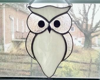 Stained Glass Owl Suncatcher - Bird - Snow Owl - Owl Ornament - Nature Decor - White Owl - Housewarming Gift - Wedding Gift