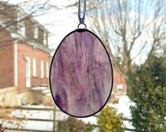 Pansy Stained Glass Flower Suncatcher Summer Decor Yellow and Purple Agate Geode Flower Gardener Gift Garden Decor Violet