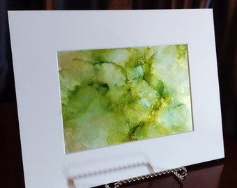 Alcohol Ink Painting, 5 x 7 Matted to 8 x 10, Green and Gold Abstract Art, Matted Abstract Painting, Modern Art, Fluid Art, Original
