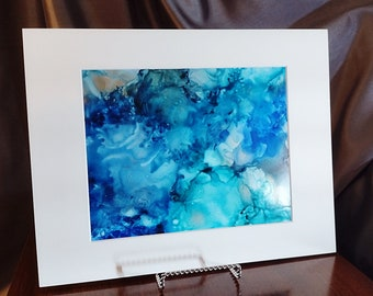 Alcohol Ink Painting, 8 x 10 Matted to 11 x 14, Blue and Silver Abstract Art, Matted Abstract Painting, Modern Art, Fluid Art, Original