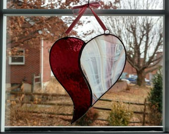 Stained Glass Heart Suncatcher, Pink Purple Glass Heart, Valentines Day Gift, Heart Ornament, Love Gift, Anniversary Gift, Mother's Day Gift