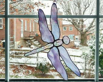 Dragonfly Stained Glass Suncatcher, Purple Dragonfly, Dragonfly Art, Garden Art, Nature Decor, Housewarming Gift, Mother's Day Gift