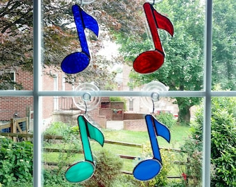 Heart with Music Notes Suncatcher Sun Catcher Stained Glass-style window hanging