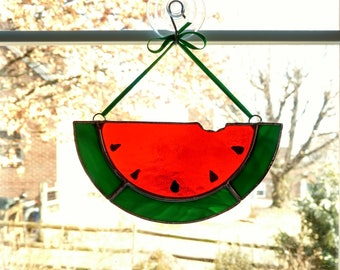 Stained Glass Watermelon Slice Suncatcher - Housewarming Gift - Summer  Decor - Watermelon Ornament - Picnic Barbecue Gift - Hostess Gift 536c85070405