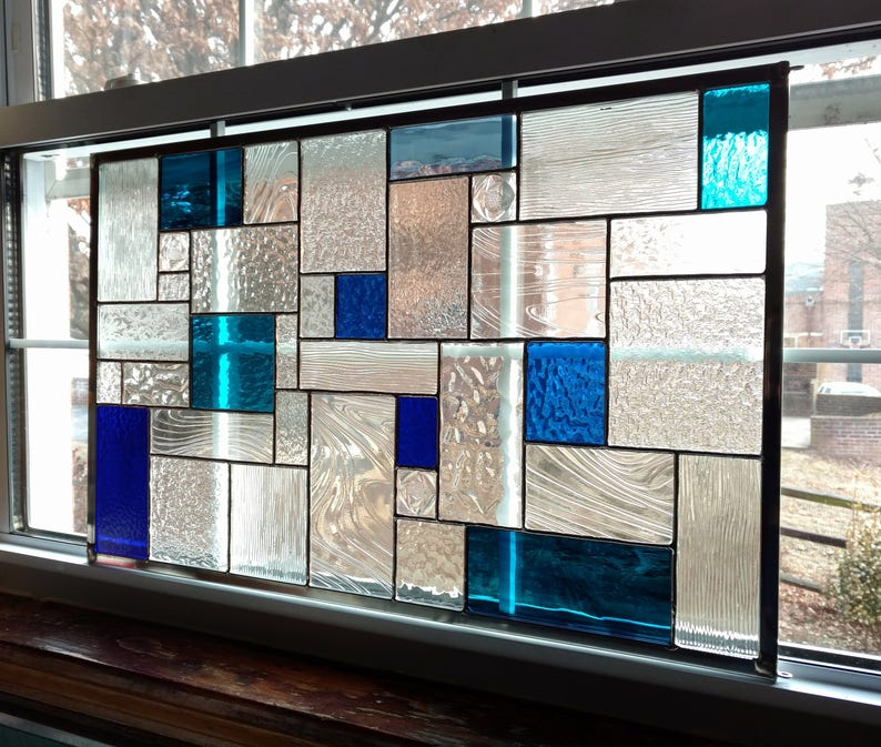 Geometric Stained Glass Window Panel Blue And Clear Custom Stained Glass Modern Art Abstract Art Privacy Screen