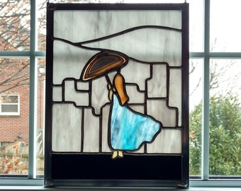 Stained Glass Woman and Cityscape Window Panel, Woman with Umbrella Picture, Rain Landscape, Rainy Day Window Decor, City Skyline
